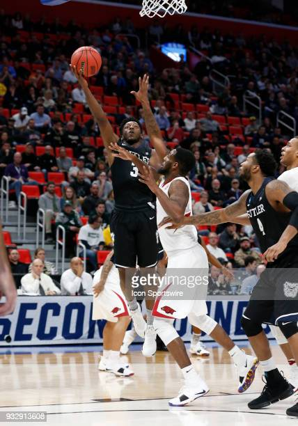 Kamar Baldwin of the Butler Bulldogs goes up for a shot during the NCAA Division I Men's Basketball First Round game between the Arkansas Razorbacks...