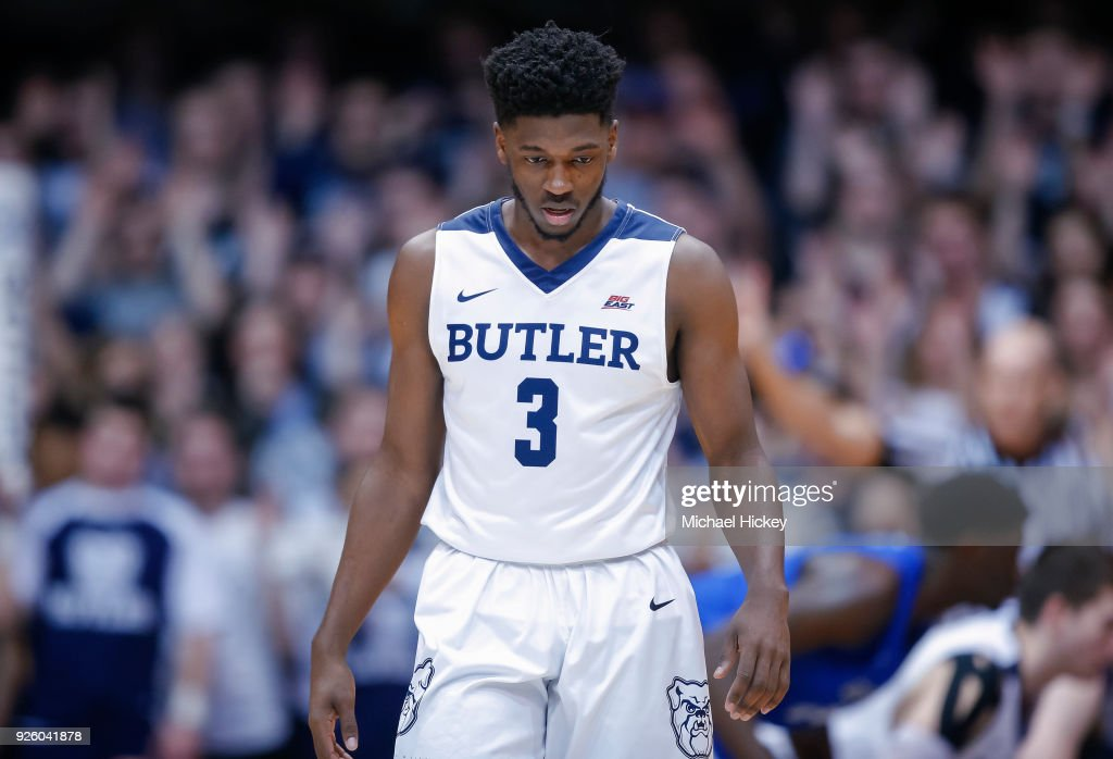 Kamar Baldwin #3 of the Butler Bulldogs is seen during the game against the Creighton Bluejays at Hinkle Fieldhouse on February 20, 2018 in Indianapolis, Indiana.