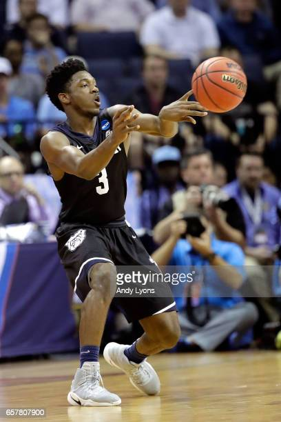 Kamar Baldwin of the Butler Bulldogs passes in the first half against the North Carolina Tar Heels during the 2017 NCAA Men's Basketball Tournament...