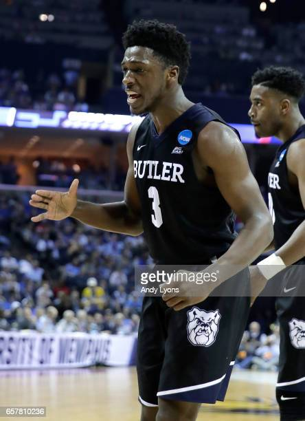 Kamar Baldwin of the Butler Bulldogs reacts after a play in the second half against the North Carolina Tar HeelsKamar Baldwin during the 2017 NCAA...