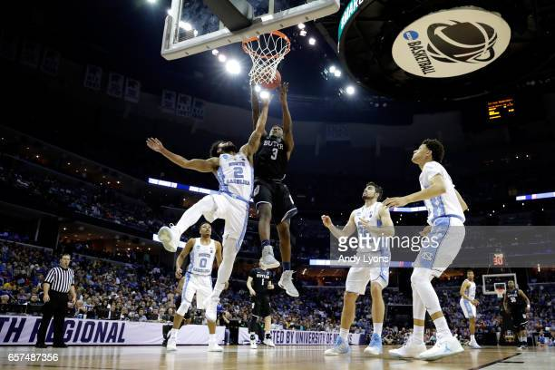 Kamar Baldwin of the Butler Bulldogs shoots against Joel Berry II of the North Carolina Tar Heels in the second half during the 2017 NCAA Men's...