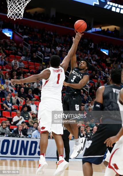 Kamar Baldwin of the Butler Bulldogs shoots over F Trey Thompson of the Arkansas Razorbacks during the NCAA Division I Men's Basketball First Round...