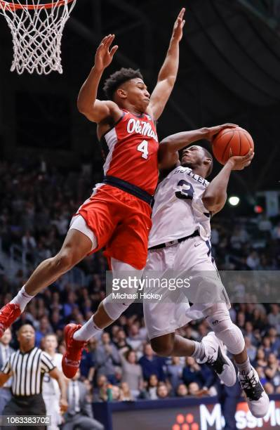 Kamar Baldwin of the Butler Bulldogs shoots the ball against Breein Tyree of the Mississippi Rebels at Hinkle Fieldhouse on November 16 2018 in...