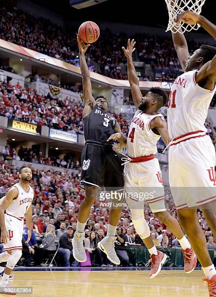 Kamar Baldwin of the Butler Bulldogs shoots the ball during the 8378 win over the Indiana Hoosiers during the Crossroads Classic at Bankers Life...
