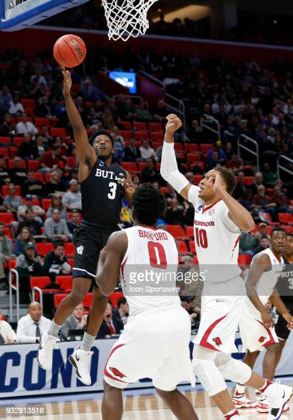 Kamar Baldwin of the Butler Bulldogs takes a shot under the basket during the NCAA Division I Men's Basketball First Round game between the Arkansas...