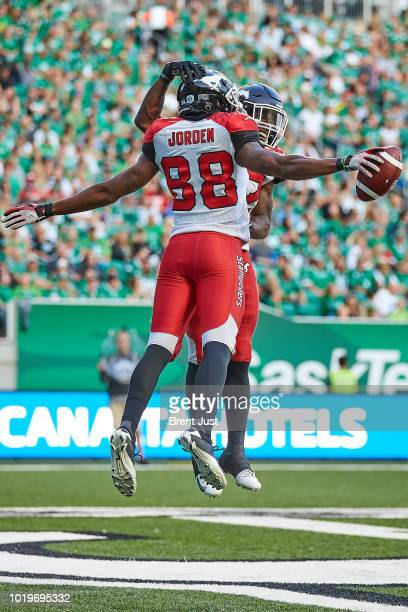 Kamar Jorden of the Calgary Stampeders celebrates after a two point conversion in the game between the Calgary Stampeders and Saskatchewan...