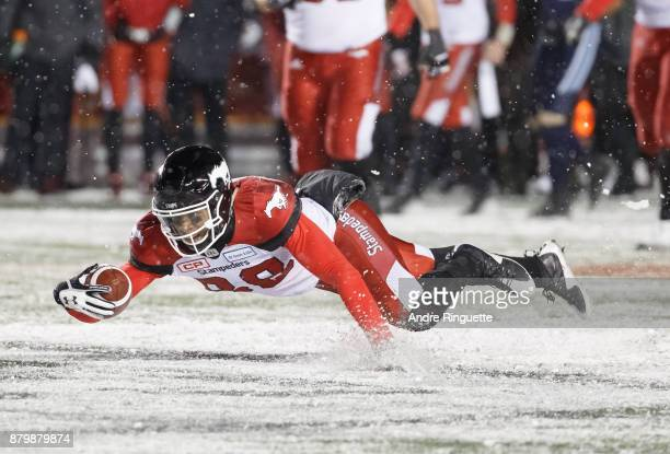 Kamar Jorden of the Calgary Stampeders dives to stretch out a catch against the Toronto Argonauts during the second half of the 105th Grey Cup...