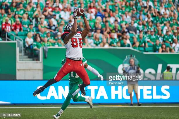 Kamar Jorden of the Calgary Stampeders makes a leaping catch for a two point conversion in the game between the Calgary Stampeders and Saskatchewan...