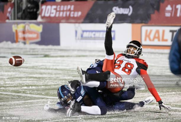 Kamar Jorden of the Calgary Stampeders misses a catch for an incompletion against the Toronto Argonauts during the second half of the 105th Grey Cup...