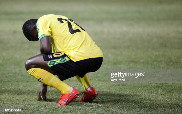 Kamar Lawrence of Jamaica reacts during a match between El Salvador and Jamiaca as part of the CONCACAF Gold Cup 2019 Qualifiers at Cuscatlan Stadium...