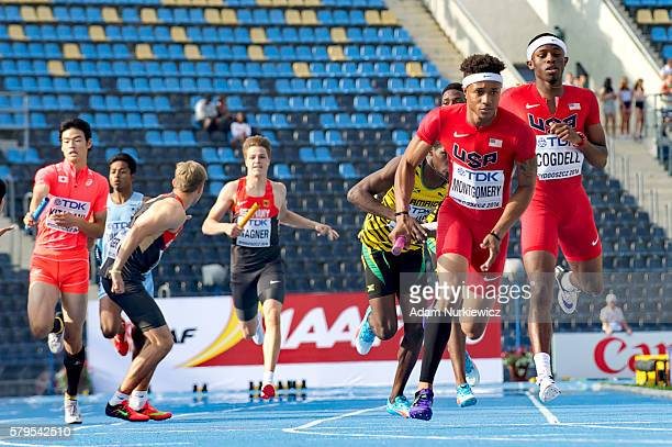 Kamari Montgomery of USA competes in men's 4 x 400 metres relay during the IAAF World U20 Championships at the Zawisza Stadium on July 24 2016 in...