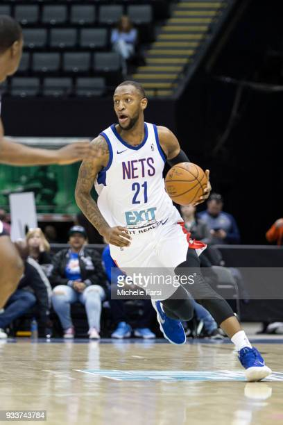 Kamari Murphy of the Long Island Nets handles the ball against the Greenboro Swarm on March 18 2018 at NYCB Live Home of the Nassau Veterans Memorial...