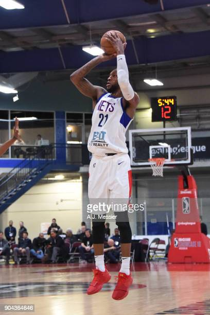Kamari Murphy of the Long Island Nets shoots the ball against the Oklahoma City Blue at NBA G League Showcase Game 18 on January 12 2018 at the...