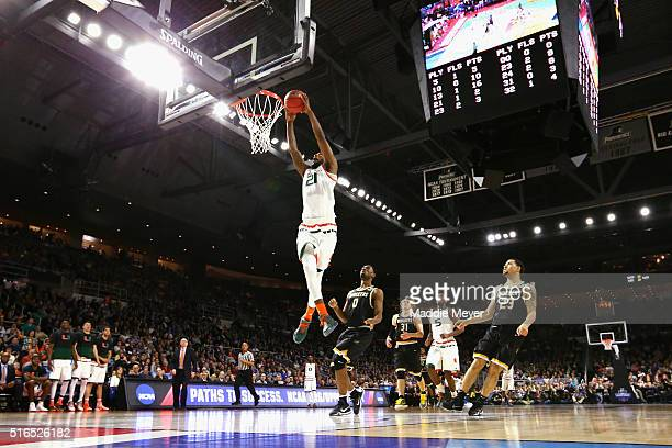 Kamari Murphy of the Miami Hurricanes dunks the ball in the second half against the Wichita State Shockers during the second round of the 2016 NCAA...