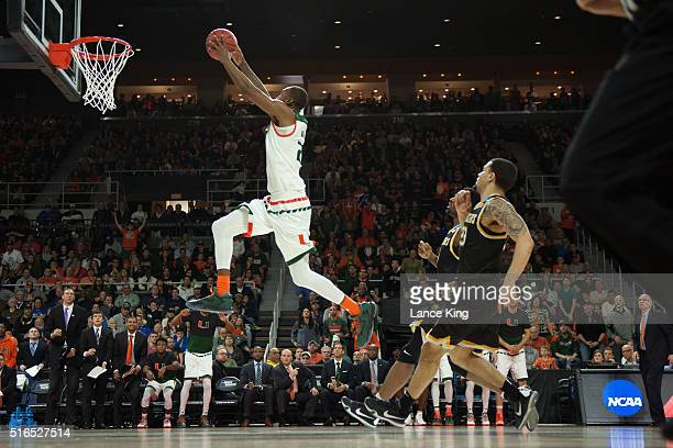 Kamari Murphy of the Miami Hurricanes goes up for a dunk against the Wichita State Shockers during the second round of the 2016 NCAA Men's Basketball...