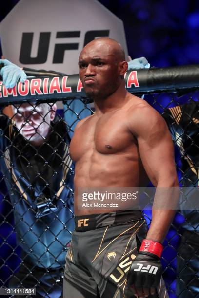 Kamaru Usman of Nigera prepares to fight Jorge Masvidal of the United States during the Welterweight Title bout of UFC 261 at VyStar Veterans...