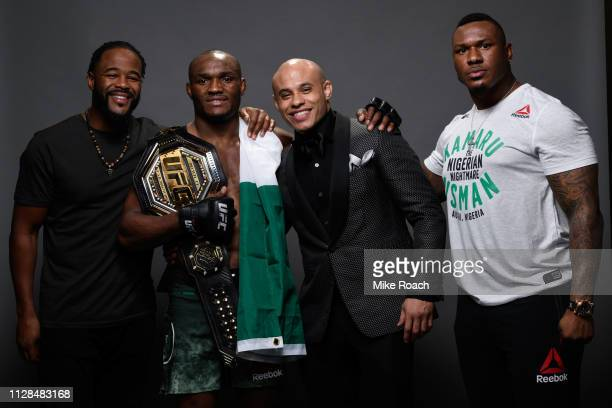 Kamaru Usman of Nigeria and his team pose for a portrait backstage during the UFC 235 event at TMobile Arena on March 2 2019 in Las Vegas Nevada