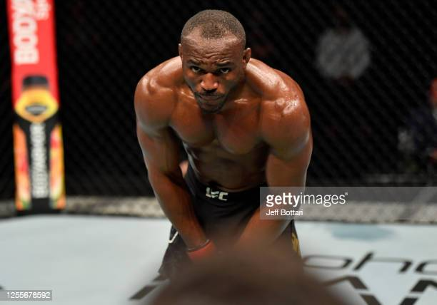 Kamaru Usman of Nigeria battles Jorge Masvidal in their UFC welterweight championship fight during the UFC 251 event at Flash Forum on UFC Fight...