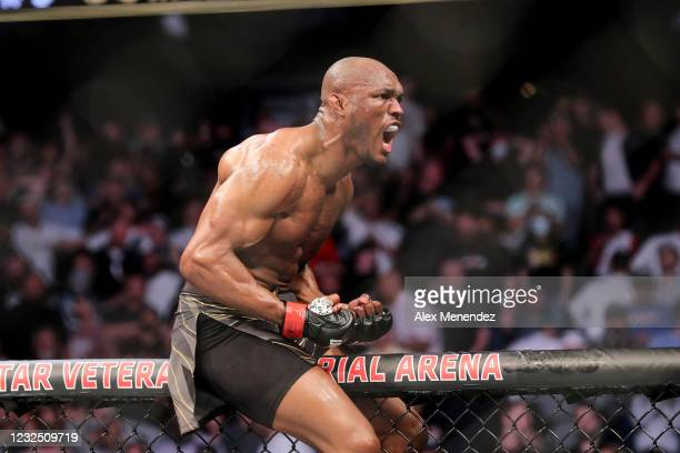Kamaru Usman of Nigeria celebrates his victory over Jorge Masvidal of the United States during the Welterweight Title bout of UFC 261 at VyStar...