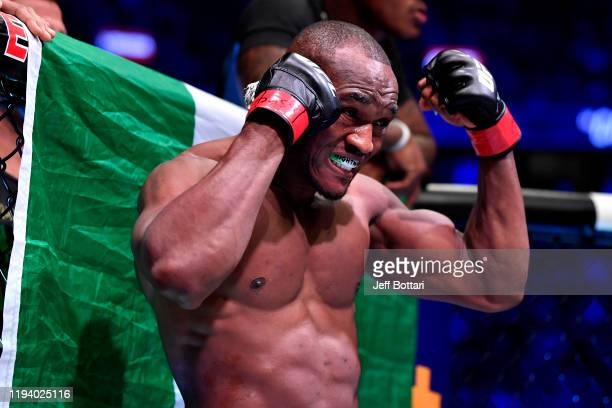 Kamaru Usman of Nigeria enters the octagon during the UFC 245 event at T-Mobile Arena on December 14, 2019 in Las Vegas, Nevada.