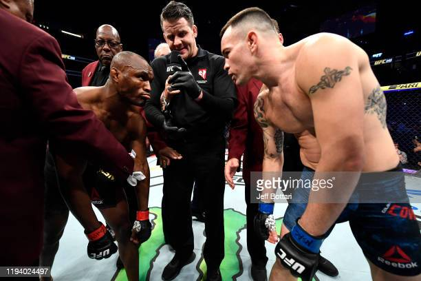 Kamaru Usman of Nigeria faces Colby Covington in their UFC welterweight championship bout during the UFC 245 event at T-Mobile Arena on December 14,...