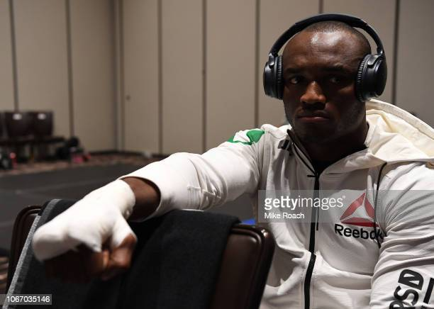 Kamaru Usman of Nigeria has his hands wrapped backstage prior to fighting during The Ultimate Fighter Finale event inside The Pearl concert theater...