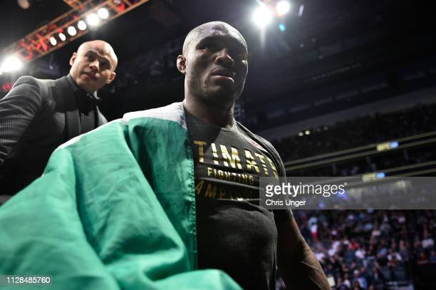 Kamaru Usman of Nigeria leaves the Octagon after his welterweight championship bout against Tyron Woodley during the UFC 235 event at TMobile Arena...