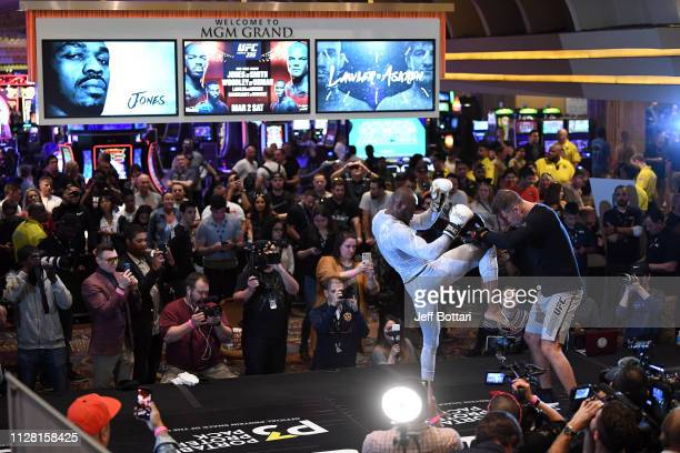 Kamaru Usman of Nigeria performs an open workout for fans and media during the UFC 235 Open Workouts event at MGM Grand Hotel Casino on February 28...
