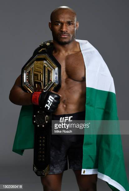 Kamaru Usman of Nigeria poses for a portrait after his victory during the UFC 258 event at UFC APEX on February 13, 2021 in Las Vegas, Nevada.