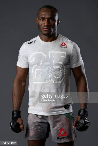 Kamaru Usman of Nigeria poses for a portrait backstage after his victory over Rafael Dos Anjos of Brazil during The Ultimate Fighter Finale event...
