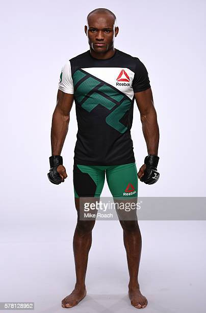 Kamaru Usman of Nigeria poses for a portrait during a UFC photo session at the Crowne Plaza Chicago Metro Downtown on July 20 2016 in Chicago Illinois