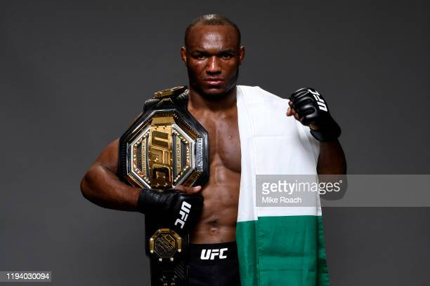 Kamaru Usman of Nigeria poses for a portrait during the UFC 245 event at T-Mobile Arena on December 14, 2019 in Las Vegas, Nevada.