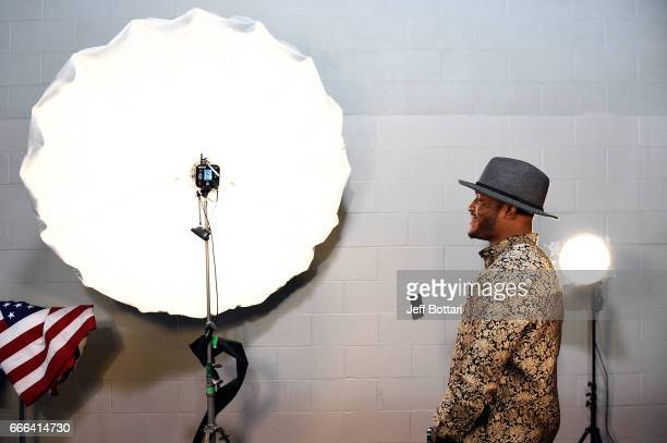 Kamaru Usman of Nigeria poses for a portraits backstage during the UFC 210 event at the KeyBank Center on April 8 2017 in Buffalo New York