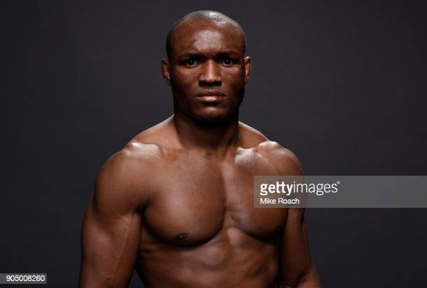 Kamaru Usman of Nigeria poses for a post fight portrait backstage during the UFC Fight Night event inside the Scottrade Center on January 14 2018 in...