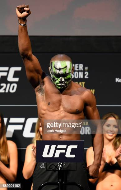 Kamaru Usman of Nigeria poses on the scale during the UFC 210 weighin at the KeyBank Center on April 7 2017 in Buffalo New York