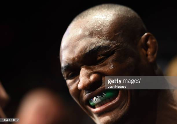 Kamaru Usman of Nigeria prepares to enter the Octagon before facing Emil Meek of Norway in their welterweight bout during the UFC Fight Night event...