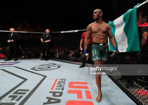 Kamaru Usman of Nigeria prepares to fight Demian Maia of Brazil in their welterweight bout during the UFC Fight Night event at Movistar Arena on May...