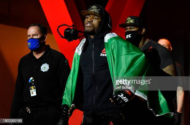Kamaru Usman of Nigeria prepares to fight Gilbert Burns of Brazil in their UFC welterweight championship fight during the UFC 258 event at UFC APEX...