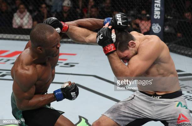 Kamaru Usman of Nigeria punches Demian Maia of Brazil in their welterweight bout during the UFC Fight Night event at Movistar Arena on May 19 2018 in...