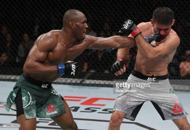 Kamaru Usman of Nigeria punches Demian Maia of Brazil in their welterweight bout during the UFC Fight Night event at Movistar Arena on May 19, 2018...