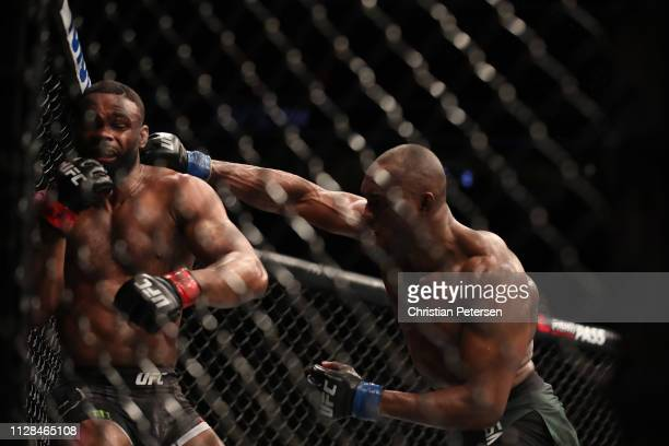 Kamaru Usman of Nigeria punches Tyron Woodley in their UFC welterweight championship bout during the UFC 235 event at TMobile Arena on March 2 2019...