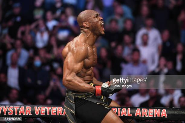 Kamaru Usman of Nigeria reacts after defeating Jorge Masvidal by knock out in their UFC welterweight championship bout during the UFC 261 event at...