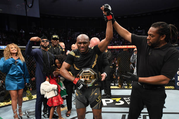 Kamaru Usman of Nigeria reacts after defeating Jorge Masvidal in their UFC welterweight championship bout during the UFC 261 event at VyStar Veterans...