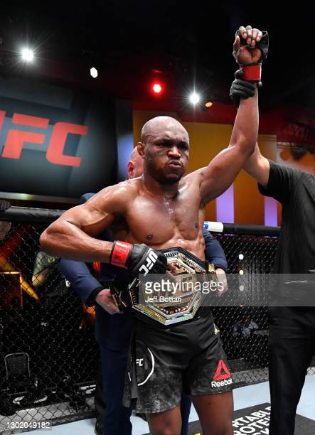 Kamaru Usman of Nigeria reacts after his victory over Gilbert Burns of Brazil in their UFC welterweight championship fight during the UFC 258 event...