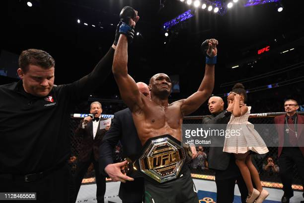 Kamaru Usman of Nigeria reacts to his win against Tyron Woodley in their UFC welterweight championship bout during the UFC 235 event at TMobile Arena...