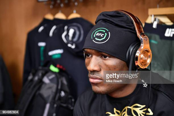 Kamaru Usman of Nigeria relaxes backstage during the UFC Fight Night event inside the Scottrade Center on January 14 2018 in St Louis Missouri