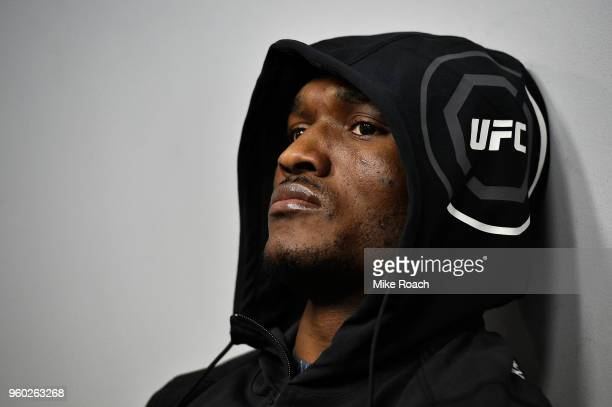 Kamaru Usman of Nigeria relaxes in his locker room prior to his bout against Demian Maia during the UFC Fight Night event at Movistar Arena on May 19...