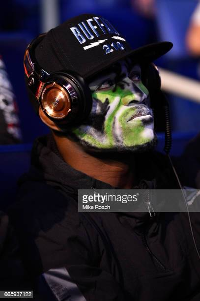 Kamaru Usman of Nigeria waits backstage during the UFC 210 weighin at KeyBank Center on April 7 2017 in Buffalo New York