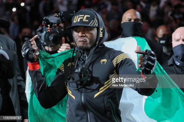 Kamaru Usman of Nigeria walk out during introductions to fight Jorge Masvidal of the United States during the Welterweight Title bout of UFC 261 at...