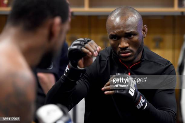 Kamaru Usman of Nigeria warms up backstage during the UFC 210 event at the KeyBank Center on April 8 2017 in Buffalo New York